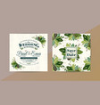 green leaves wedding invitation card save vector image