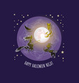 halloween card with moon witch owl bat ca vector image vector image