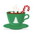 hot chocolate cup with marshmallow and lollipop vector image