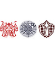 icon set with warriors equipment vector image vector image