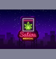 marijuana medical logo neon sativa medical vector image vector image