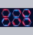 neon hexagonal frames set in blue and red colors vector image