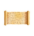 old textured wide papyrus scroll with lot of hand vector image