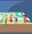 passengers boarding a train at the platform part vector image vector image