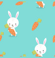 pattern of bunny with carrot vector image vector image
