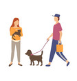 people character with cat and dog outdoor vector image vector image