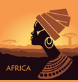 profile african women in a landscape vector image vector image