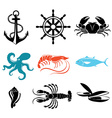 Seafood icons Crab lobster fish octopus vector image