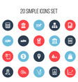 set of 20 editable finance icons includes symbols vector image vector image
