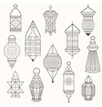 set old lamps lantern dark silhouettes vector image