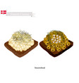 smorrebrod with macaroni the national dish of den vector image vector image