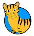 striped wild tiger sticker icon cartoon vector image