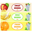 sweet cold fresh drinks with tasty juicy fruits vector image vector image