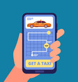 taxi app concept hand holding smartphone vector image