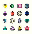 thin line gems icons set vector image vector image