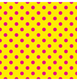 Tile pattern pink polka dots on yellow background vector image vector image