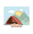 travel vacation with camping tent icon vector image