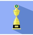 Trophy cup in flat style Icon gold goblet vector image vector image