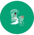 Vintage bride on a white tricycle with flowers vector image