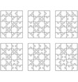 white puzzles isolated pieces vector image