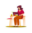 woman or freelancer have a rest in cafe vector image