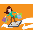 woman shopping surf by phone vector image