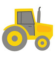 yellow tractor color on white background vector image vector image