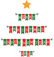 christmas bunting flags vector image