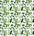 Seamless pattern of green plants vector image