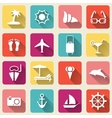 Summer travel icons long shadow vector image