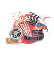 3d concept cinema poster composition vector image vector image
