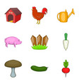 agricultural land icons set cartoon style vector image vector image
