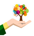 autumn colorful tree in human hand isolated on vector image vector image