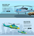 banners with helicopters design template of vector image vector image