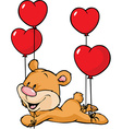 bear flying with balloons in the shape of heart vector image vector image