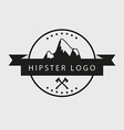 Black and white hipster logotype with mountains vector image