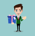 businessman has an offer giving a present parcel vector image
