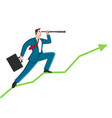 businessman using telescope on graphic chart vector image vector image