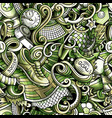 cartoon doodles football seamless pattern vector image vector image