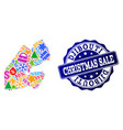 christmas sale collage of mosaic map of djibouti vector image vector image