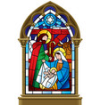 christmas stained glass window in gothic frame vector image vector image