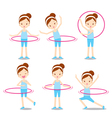 Cute girl with hula hoop twirling actions set vector image vector image