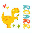cute yellow trex dino roarr greeting card vector image vector image
