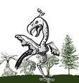 Dancing dino bird - An hand drawn vector image vector image