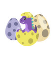 dinosaur kid in egg with dots vector image vector image