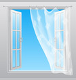 double window with fluttering curtain vector image