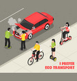 eco transport isometric poster vector image
