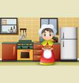 happy girl carrying a delicious bread vector image vector image