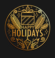 happy holidays card with gold christmas icons in vector image