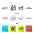 isolated object of greenhouse and plant icon set vector image